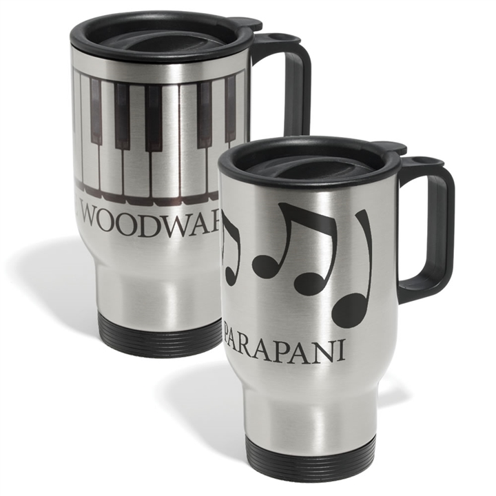 Personalized Music Design Travel Mug At The Music Stand