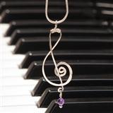 Silver & Amethyst Treble Clef Necklace