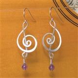 Silver & Amethyst Treble Clef Earrings