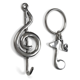 Pewter Musical Keychain and Wall Hook Set