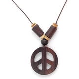 Wood Peace Sign Necklace