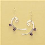 Silver & Amethyst Bass Clef Earrings