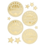 Gold Embossed 'Excellence' Award Seal, Pack of 32