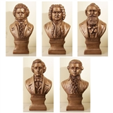 Composers Cast Stone Busts, Set of 5