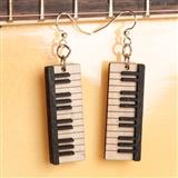 Laser-Cut Wood Piano Keys Earrings
