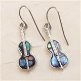Abalone Violin Earrings