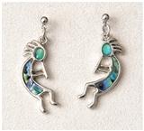 Abalone Kokopelli Earrings