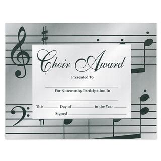 choir award certificates